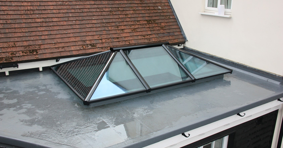 building with storm roof window