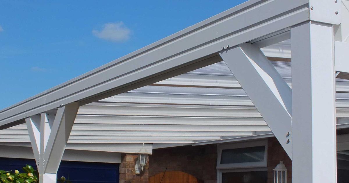 Outdoor canopy brackets. White Tassat canopy installed.